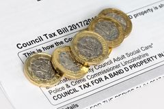 Council tax. New pound coins on a council tax bill stock photography
