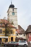 The Council Tower in a rainy day, located on the Large Square in Sibiu city in Romania Royalty Free Stock Photo