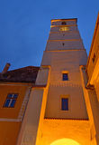 Council Tower in Sibiu city in Romania. In night time Stock Image