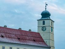 Council Tower of Sibiu on a winter day in Sibiu, Transylvania Region, Romania.  royalty free stock images