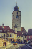 The Council Tower in the Small Square, Sibiu, Romania Stock Images