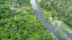 Counrtry river from above. Country river from above, aerial shoot stock video footage