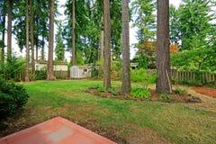 Counryside domu podwórko z drzewami Zdjęcie Stock