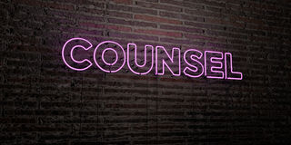 COUNSEL -Realistic Neon Sign on Brick Wall background - 3D rendered royalty free stock image Royalty Free Stock Photography