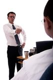 Counseling. Young american businessman yelling at co-worker Royalty Free Stock Image