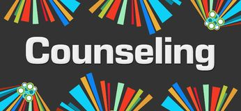 Counseling Dark Colorful Elements Background. Counseling text written over dark colorful background Stock Image