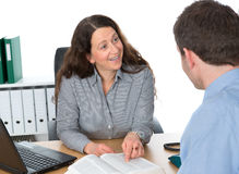 Counseling interview. Businesswoman and a men in counseling interview Royalty Free Stock Photo