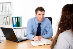 Counseling interview. Business men and women in counseling interview stock photo