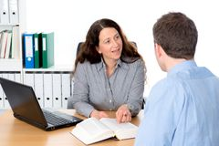 Counseling interview. Business women and men in counseling interview royalty free stock images