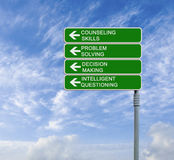 Counseling skills. Road sign to counseling skills royalty free stock photos