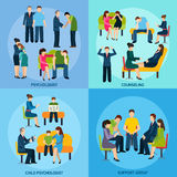 Counseling Support 4 Flat Icons Square Stock Images