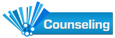 Counseling Blue Graphical Horizontal. Counseling text written over blue background Stock Images