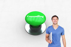 Counselling against digitally generated green push button Stock Photography