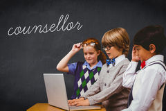 Counsellor against blackboard royalty free stock photography