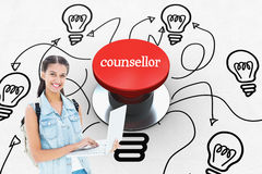 Counsellor against digitally generated red push button. The word counsellor and student using laptop against digitally generated red push button royalty free stock photography