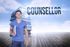 Counsellor against stack of books against sky Royalty Free Stock Photography