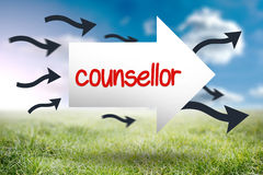 Counsellor against sunny landscape Royalty Free Stock Photo