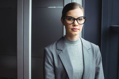 Counselor in glasses at office. Portrait of counselor in glasses at office stock photography