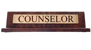 Counselor name plate Stock Image