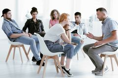 Counselor talking with rebellious girl Royalty Free Stock Images
