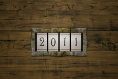 Count 2011. 3D illustration, steam punk styled mechanical counter Stock Image