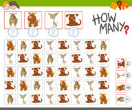 Count the dogs activity. Cartoon Illustration of Educational Counting Activity for Children with Dogs Royalty Free Stock Image