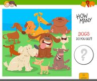 Count the dogs activity worksheet game. Cartoon Illustration of Educational Counting Activity Game for Kids with Dogs Animal Characters stock illustration