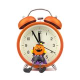 Count down to holloween festival concept. Orange alarm clock wit. H pumpkins ghost toy isolated on white royalty free stock images