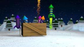 Count-down von Zahlen, die aus Geschenkboxen mit Frühlingen auf dem Schnee herauskommen, bis sie einen Kasten mit bunten Raketen  vektor abbildung