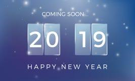 Count-down zum neuen Jahr Guten Rutsch ins Neue Jahr 2019 Feiertagshintergrund mit Schneefällen Auch im corel abgehobenen Betrag lizenzfreie abbildung