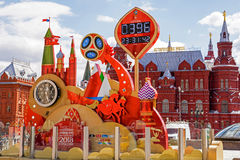 Count-downuhr zum Anfang der Fußball-Weltmeisterschaft 2018 Stockbilder