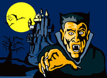Count Dracula with castle. Vector art on halloween with Count Dracula with castle in the background Stock Photos