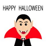 Count Dracula head face wearing black and red cape.  Royalty Free Stock Photography