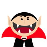 Count Dracula head face wearing black and red cape. Cute cartoon vampire character with fangs. Big mouth. Happy Halloween. Greetin. G card. Flat design. White Stock Photo