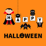 Count Dracula, monster, spider, bat, owl holding letters. Happy Halloween. Text with pumpkin. Cute cartoon scary silhouette charac Stock Photography