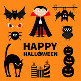 Count Dracula, monster, spider, bat, owl, red eye, candle set. Happy Halloween. Text with pumpkin. Cute cartoon scary silhouette c Royalty Free Stock Photo