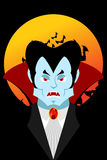 Count Dracula and moon. Evil vampire. Aggressive ghoul. Poster f Stock Image