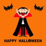 Count Dracula wearing black and red cape. Cute cartoon vampire character with big open mouth, tongue and fangs. Two flying bat ani. Count Dracula wearing black Stock Photos