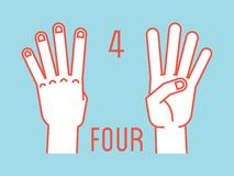 Count on fingers. Number four. Gesture. Stylized hands with index, middle, ring and little fingers up. Vector. Count on fingers. Number four. Gesture. Stylized Stock Image