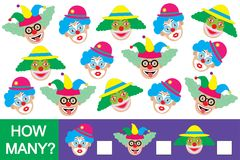 Count how many clowns. Educational game.  Stock Photography