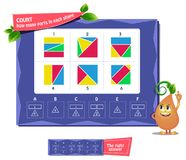 Count how many parts in each shape. Educational game months of the year for kids and adults. Ð¡oloring book iq. Task game count how many parts in each shape royalty free illustration