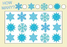 Count how many snowflakes. Educational game for kids. Vector Royalty Free Illustration