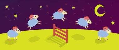 Count lambs and rams for sleep. baa-lamb. jump over the fence. Vector Stock Images