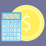 Count money on calculator Royalty Free Stock Photography