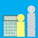 Count money with calculator Royalty Free Stock Photography