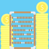 Count money. Stacks of coins and abacus. Money counting machine, money stack and counting coins, accounting vector illustration Stock Image