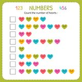 Count the number of hearts. Worksheet for kindergarten and preschool. Training to write and count numbers. Exercises for children. Numbers for kids. Vector vector illustration