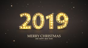 2019 Count Numbers For Greeting Card Merry Christmas and Happy New Year stock illustration