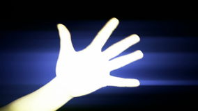 Count from one to ten,hand sign silhouette and rays lights,tech computer background. stock video footage
