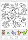 Count and painting color the animals. Stock Photos